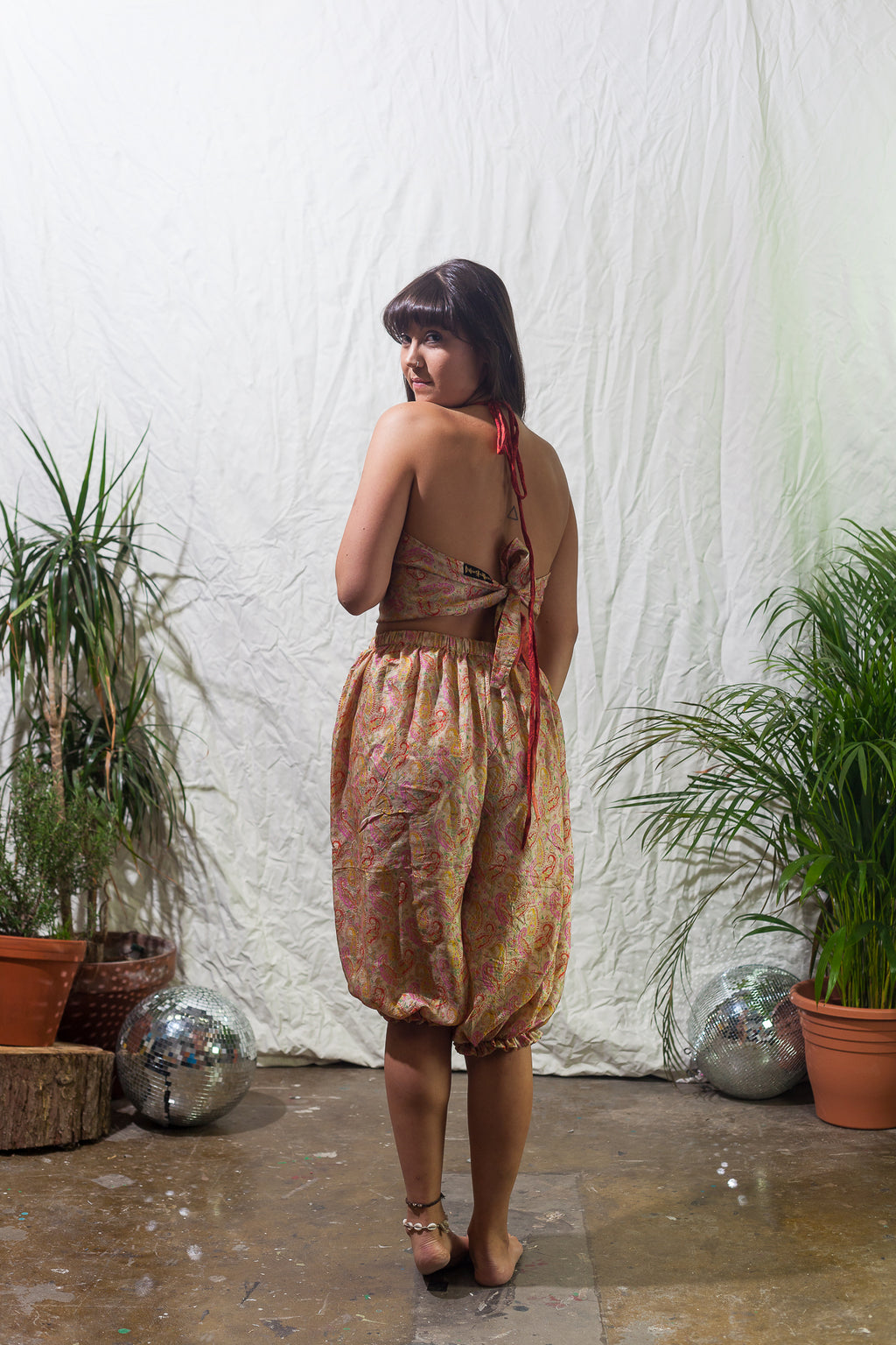 Pearl -  reversible tie back crop top and bloomers silk festival two piece