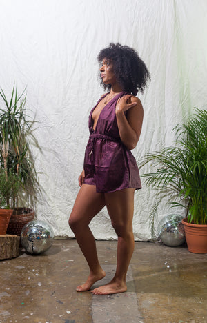 Claret -  halter neck playsuit made from reclaimed vintage sari