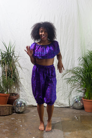 Violet -  ruffle crop and bloomers, festival two piece