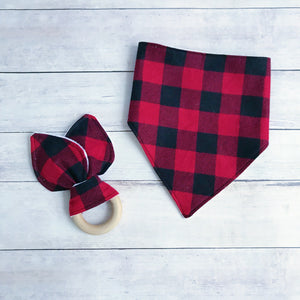 Red and Black Buffalo Plaid Bandana Bib