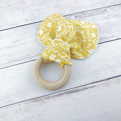 Mustard Floral Organic Wooden Teether