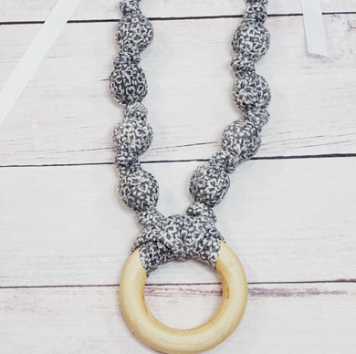 Teething & Nursing Ring Necklace - Grey Floral
