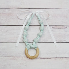 Teething & Nursing Ring Necklace - Mint Geo