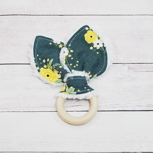 Organic Wooden Teether - Dark Green Spring Blossom