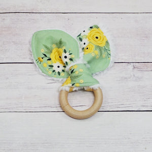 Organic Wooden Teether - Light Green Spring Blossom
