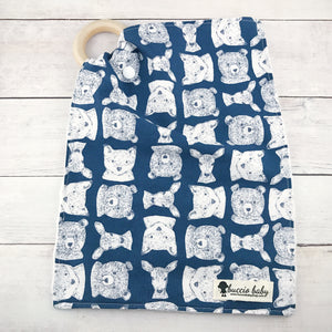 Navy Woodland Teething Lovey