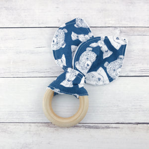 Navy Woodland Organic Wooden Teether