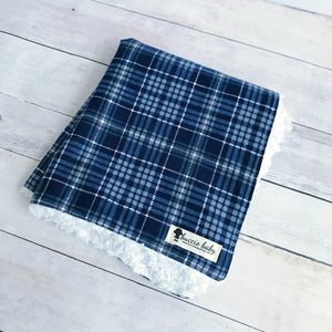 Navy Plaid Oversized Lovey