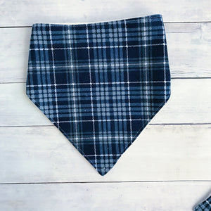 Navy Plaid Bandana Bib
