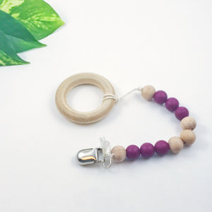 Dusty Rose and White Color Block Pacifier Clip