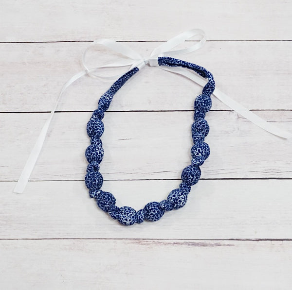 Teething & Nursing Necklace - Navy Floral