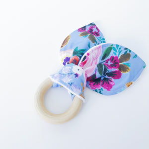 Periwinkle Floral Organic Wooden Teether