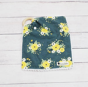 Dark Green Spring Blossom Teething Lovey