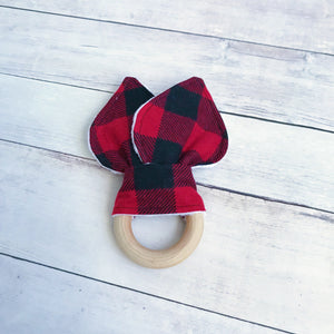 Black and Red Plaid Organic Wooden Teether