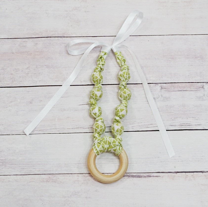 Teething & Nursing Necklace - Spring Geo Lime Ring