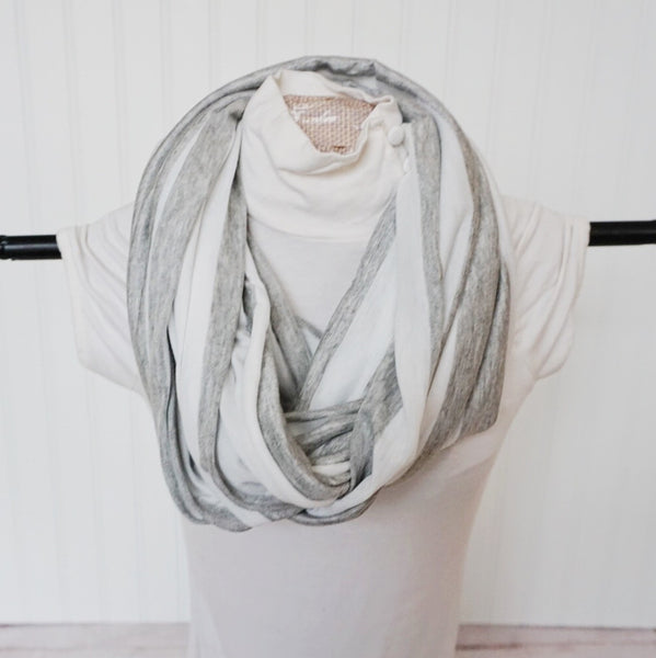 GREY & WHITE Stripe NURSING INFINITY SCARF