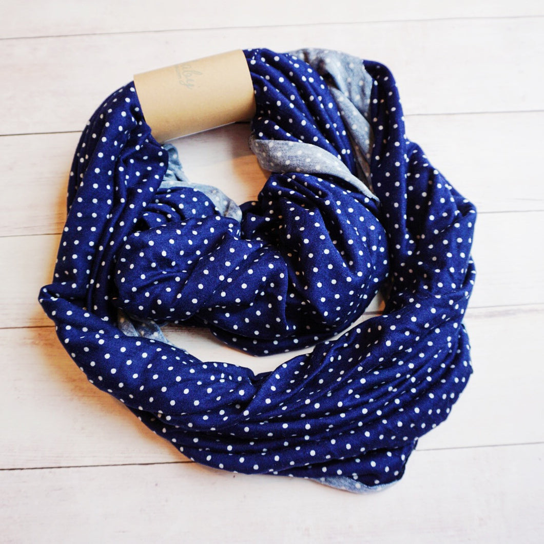 Navy Pin Dot Nursing Scarf - Buccio Baby Shop - 1