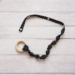 Teething Leash - Black Poka Dot
