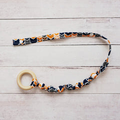 Teething Leash - Blue and Orange Chevron