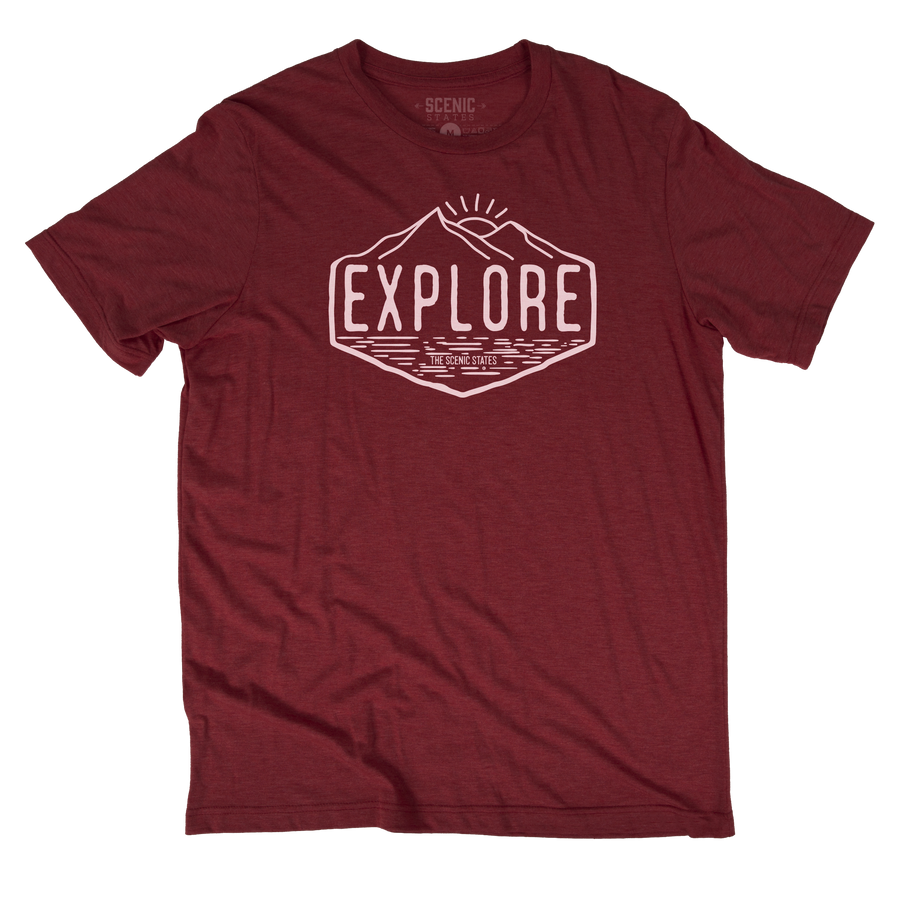Explore Tee | Heather Cardinal