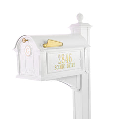 Whitehall Products Personalized Balmoral Mailbox and Post Package with Monogram, Side Plaques and Ball Finial