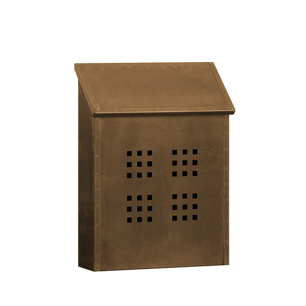 Salisbury Industries Decorative Vertical Style Antique Brass Mailbox - Surface Mounted
