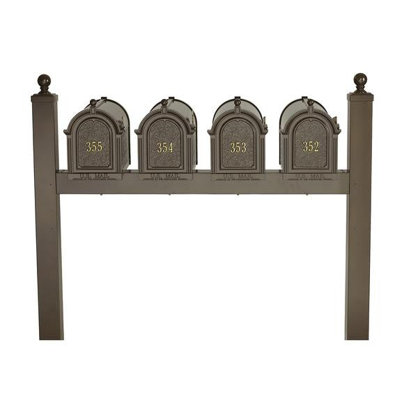 Whitehall Products Personalized Multi Mailbox Quad Package with Posts and Custom Address Door Panels