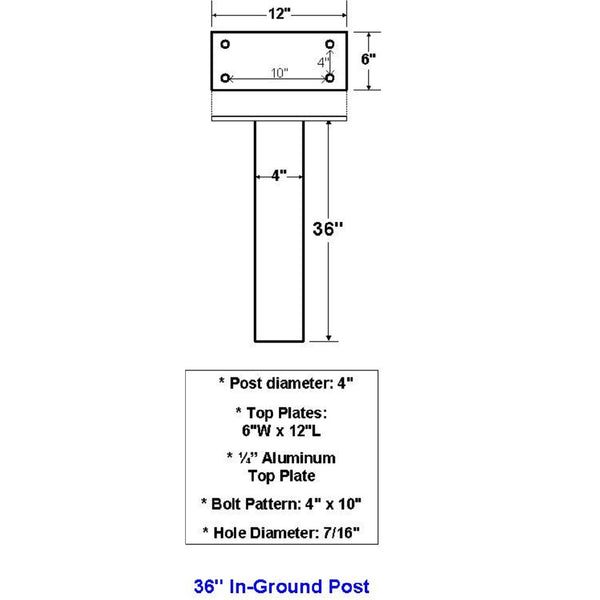 "Jayco Industries 36"" Aluminum In Ground Post"