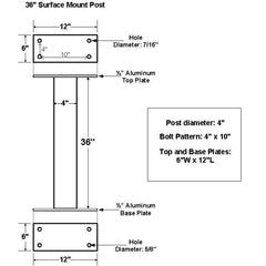 "Jayco Industries 36"" Aluminum Surface Mount Post"