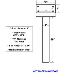 "Jayco Industries 48"" Stainless Steel In Ground Post"