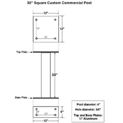 "Jayco Industries 30"" Aluminum Surface Mount Post  for Front Access Custom Commercial Boxes"