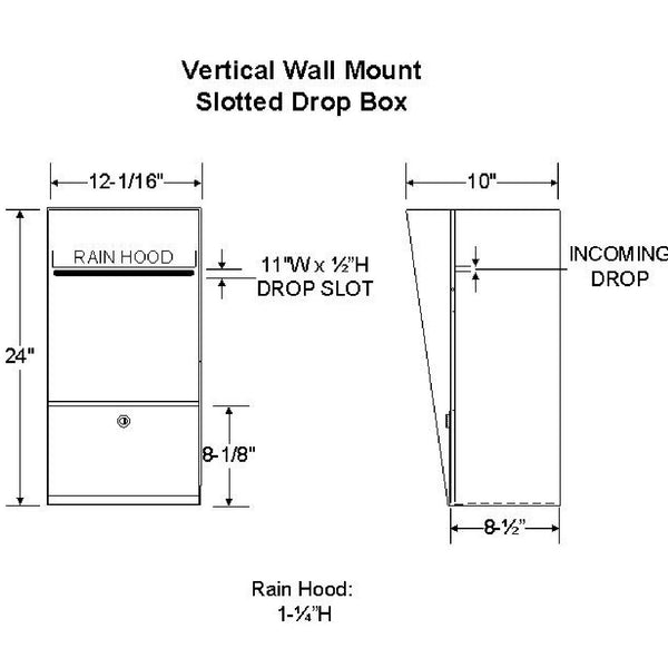 Jayco Industries Stainless Steel Slotted Vertical Locking Wall Mount Drop Box