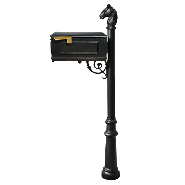 QualArc Lewiston Equine Complete Mailbox with Fluted Base and Horsehead