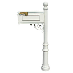 QualArc Lewiston Mailbox with Fluted Base and Ball Finial