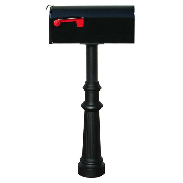 QualArc Hanford Single Mailbox Post System Cast Aluminum with E1 Economy Rural Mailbox and Mounting Plate