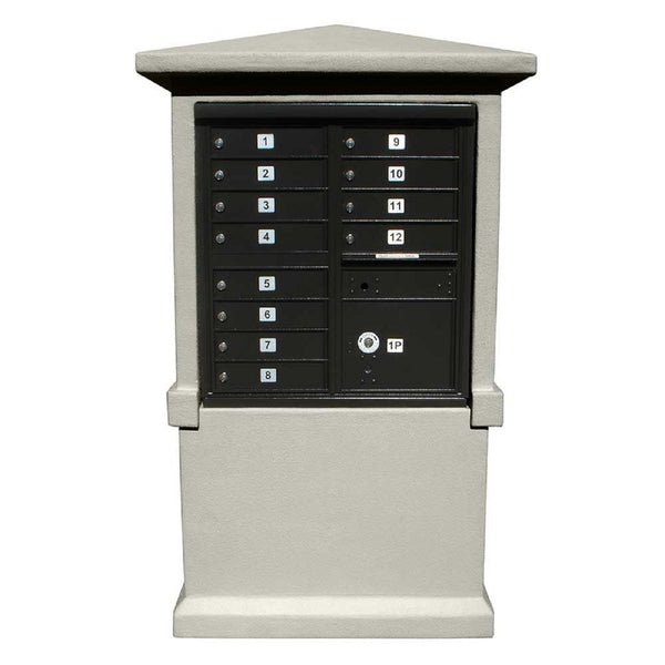 QualArc Eastview Stucco Cluster Box Unit Mailbox Center