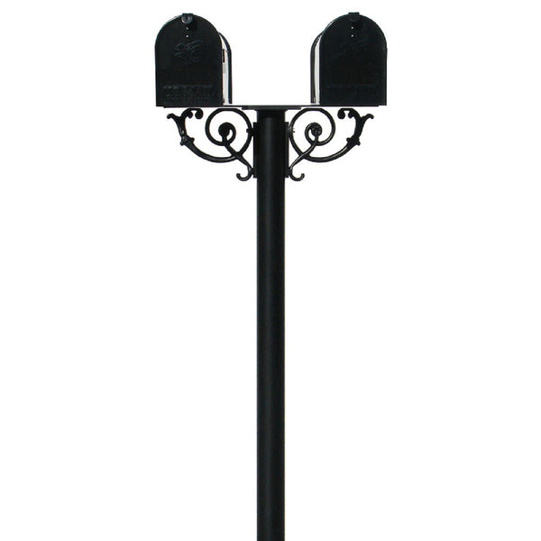 QualArc Hanford TWIN Mailbox Post System With Scroll Supports Cast Aluminum
