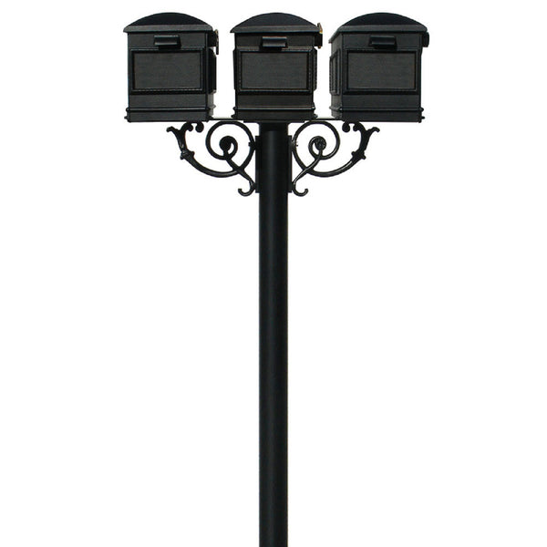 QualArc Hanford TRIPLE Mailbox Post System Scroll Support Cast Aluminum with Lewiston Mailboxes