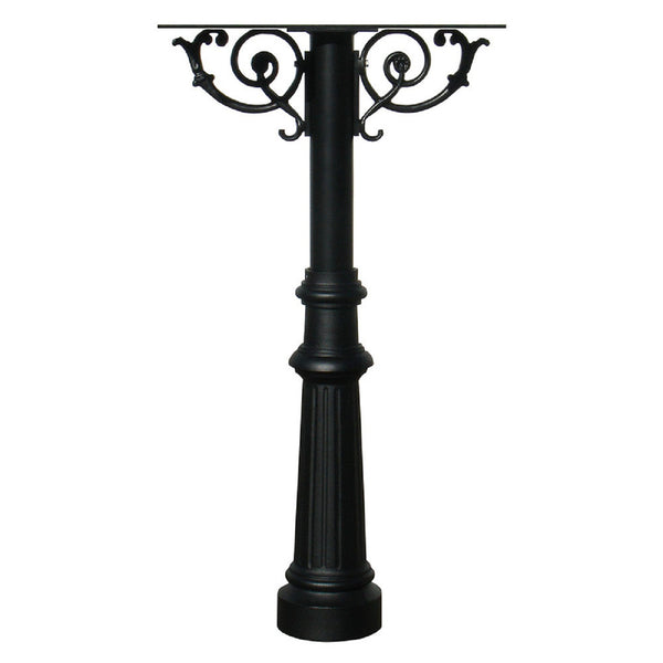 QualArc Hanford TRIPLE Mailbox Post System with Scroll Supports Cast Aluminum