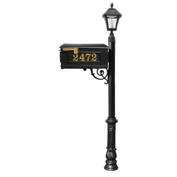 QualArc Personalized Lewiston Mailbox Post Cast Aluminum and  Bayview Solar Lamp