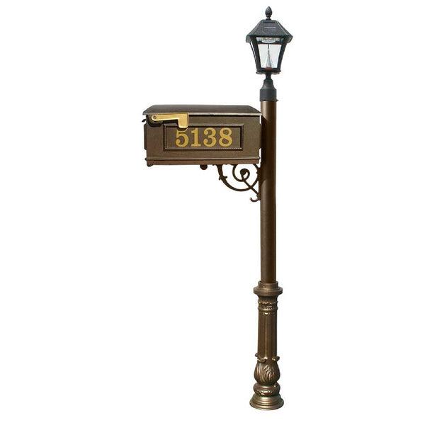 QualArc Lewiston Mailbox Post Cast Aluminum and  Bayview Solar Lamp