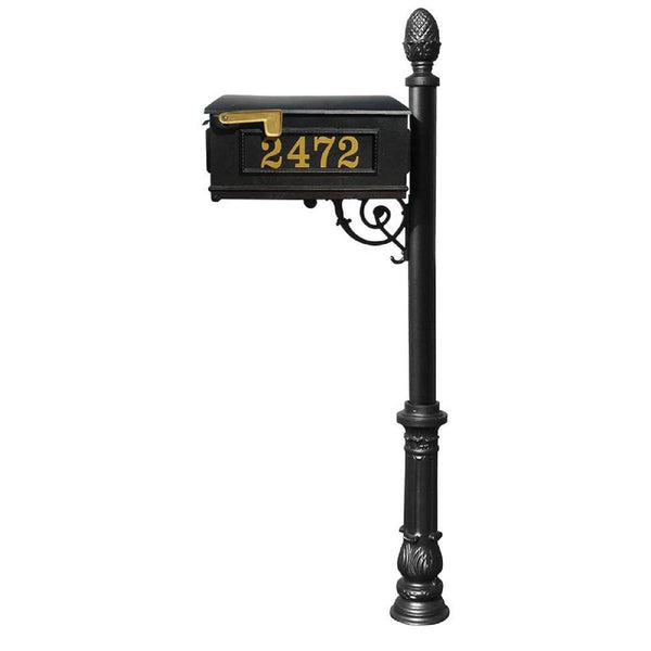 QualArc Personalized Lewiston Mailbox Cast Aluminum Vinyl Number Weather Resistant