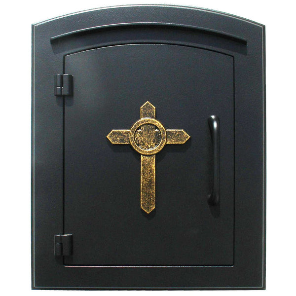 QualArc Manchester Non Locking Column Mount Mailbox with Decorative Cross Logo