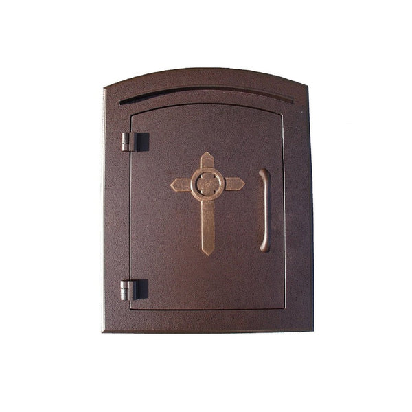 Qualarc Manchester Security Drop Chute Mailbox Decorative Cross Door Logo Faceplate