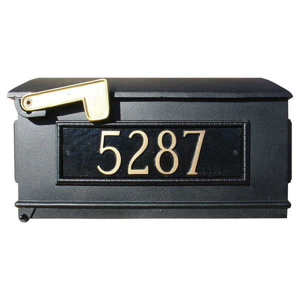 QualArc Personalized Lewiston Mailbox with Custom Address Plates in Black