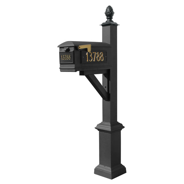 Qualarc Westhaven System with Lewiston Mailbox Square Base & Pineapple Finial