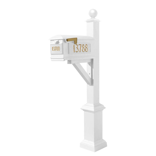 QualArc Westhaven System with Lewiston Mailbox, Square Base & Large Ball Finial