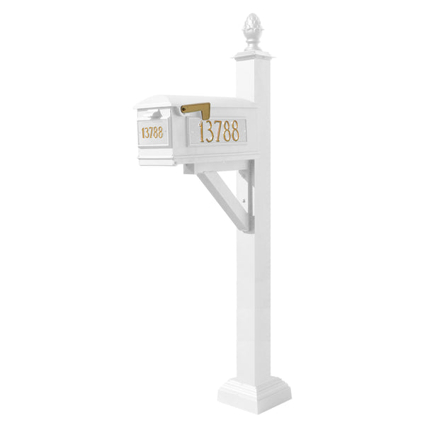 QualArc Westhaven System with Lewiston Mailbox, Square Collar & Pineapple Finial