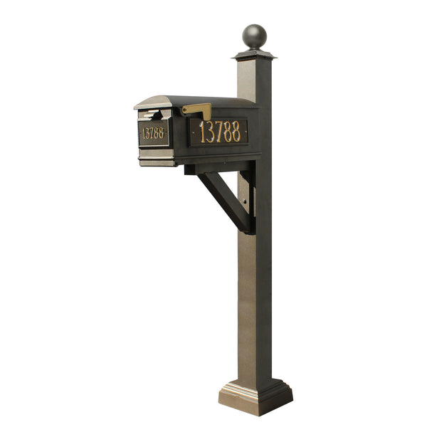 QualArc Westhaven System with Lewiston Mailbox, Square Collar & Large Ball Finial