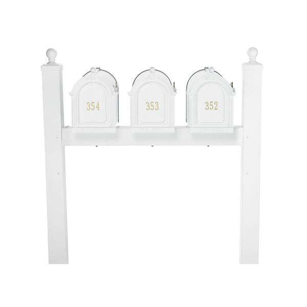 Whitehall Personalized Multi Mailbox Triple Package Posts and Customized Address Door Panels